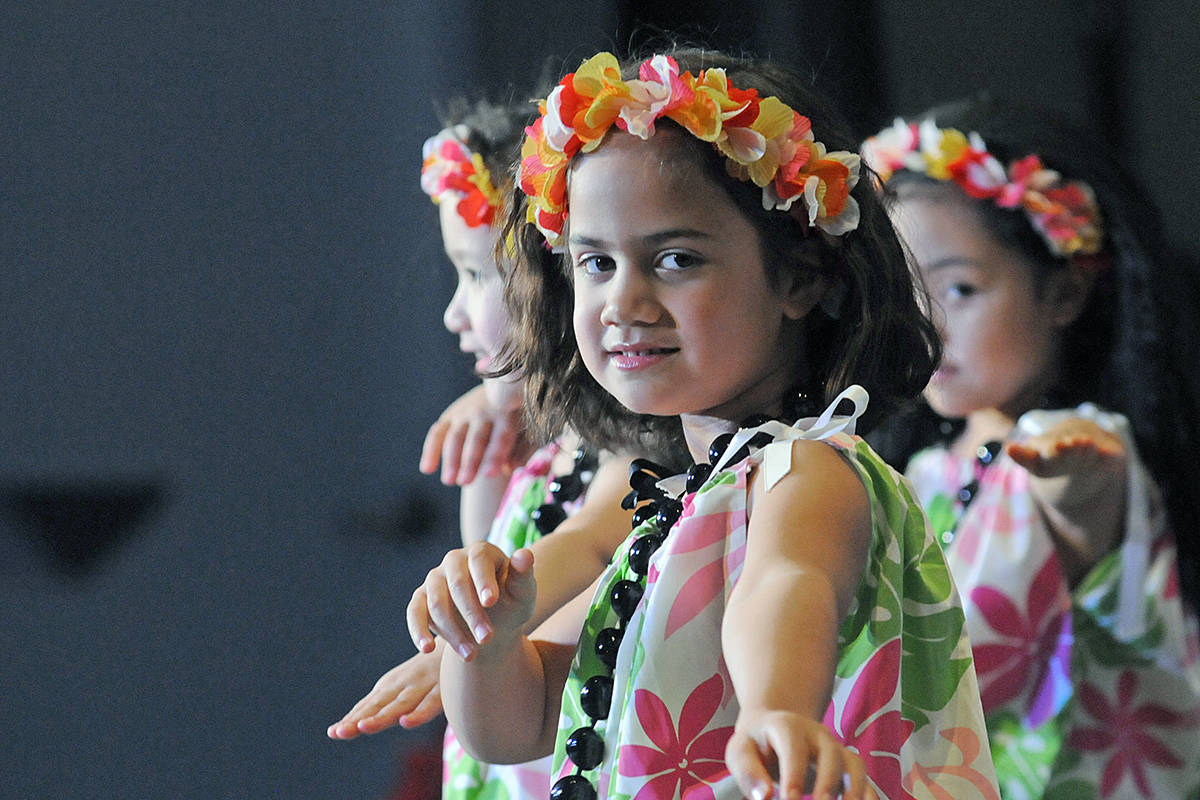 Tayla Mosogau and other young dancers performed traditional Hawaiian hula dances at the Walnut Grove Lutheran Church on Saturday, Nov. 30. (Dan Ferguson/Langley Advance Times)