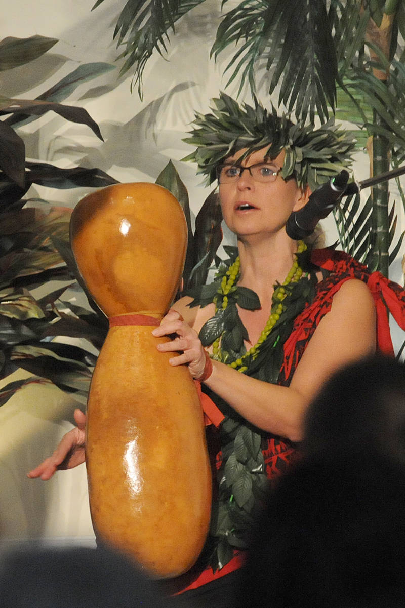 Carol Kapolimehanamakamae Antonsen kept the beat with a ipu heke (gourd) as members of her dance studio performed traditional Hawaiian hula dances at the Walnut Grove Lutheran Church on Saturday, Nov. 30. (Dan Ferguson/Langley Advance Times)
