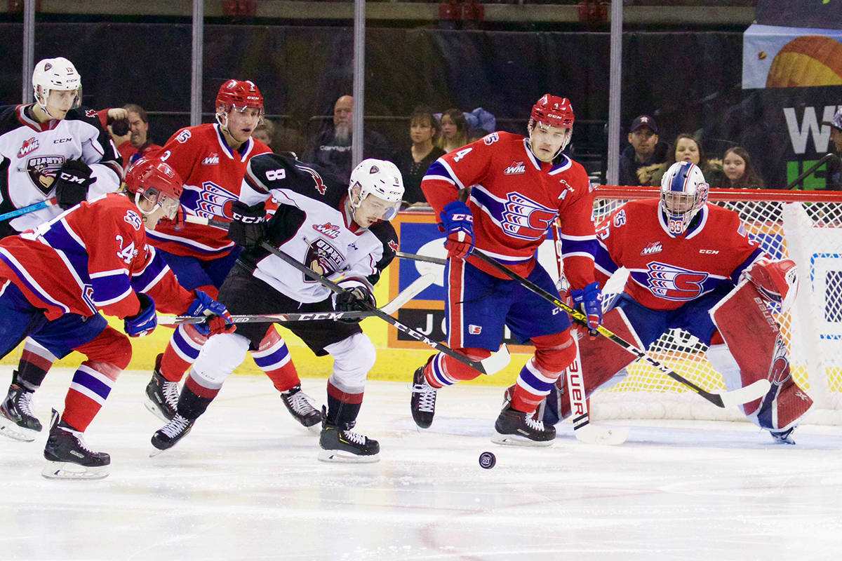 Friday night (Nov. 29) in Spokane, WA , Tristen Nielsen scored his team-leading 13th goal of the season on a breakaway at 3:41 of overtime completing the comeback for the Giants who trailed 2-0 after two periods. (Derek Guscott photo)