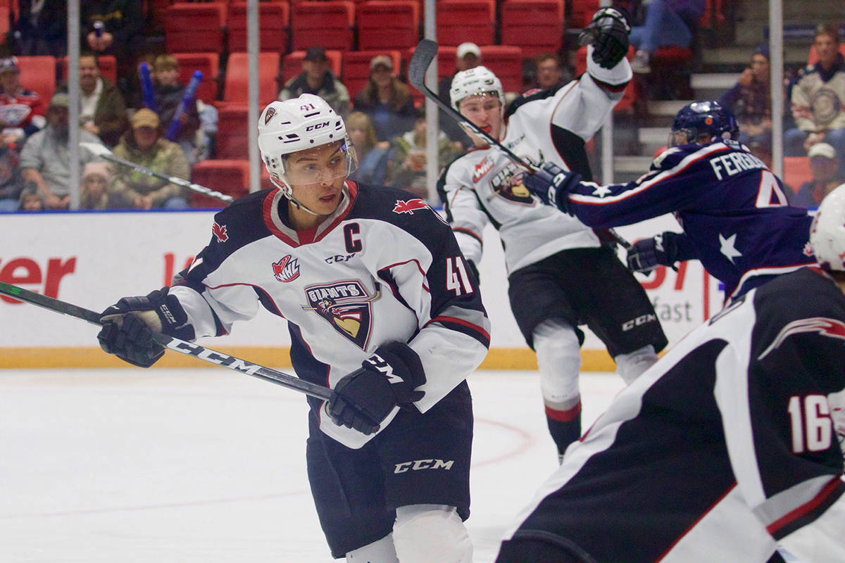 Giants defenceman Alex Kannok Leipert looks for an opening Saturday night (Nov. 30) in Kennewick against the Tri-City Americans. (Derek Guscott/special to Langley Advance Times)