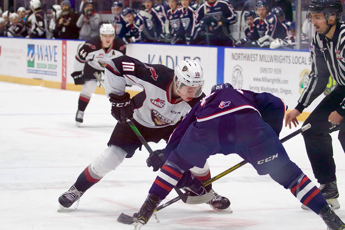 Giants forward Zach Ostapchuk faces off Saturday night (Nov. 30) in Kennewick against the Tri-City Americans. (Derek Guscott/special to Langley Advance Times)