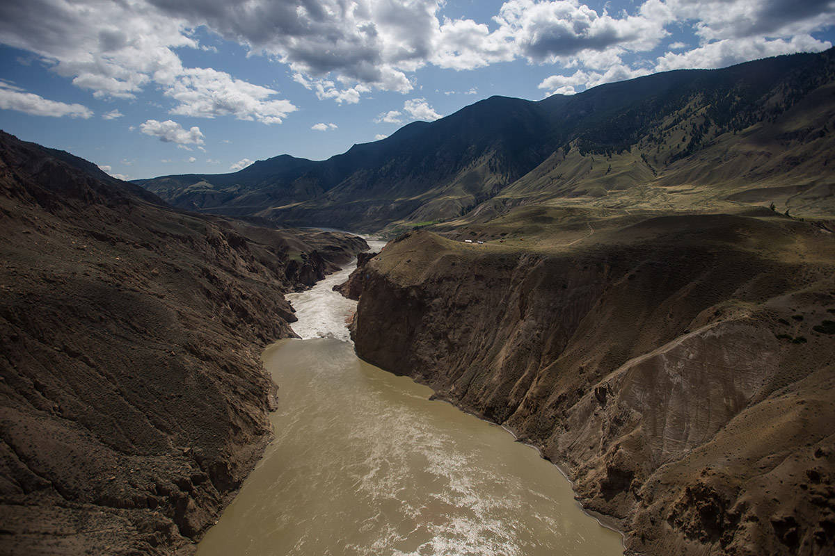 The site of a massive rock slide is seen on the Fraser River near Big Bar, west of Clinton, B.C., on Wednesday July 24, 2019. Ottawa is seeking help to avoid what it says could be the extinction of some British Columbian salmon species because of a massive landslide on the Fraser River that sparked a co-ordinated emergency response this year. THE CANADIAN PRESS/Darryl Dyck