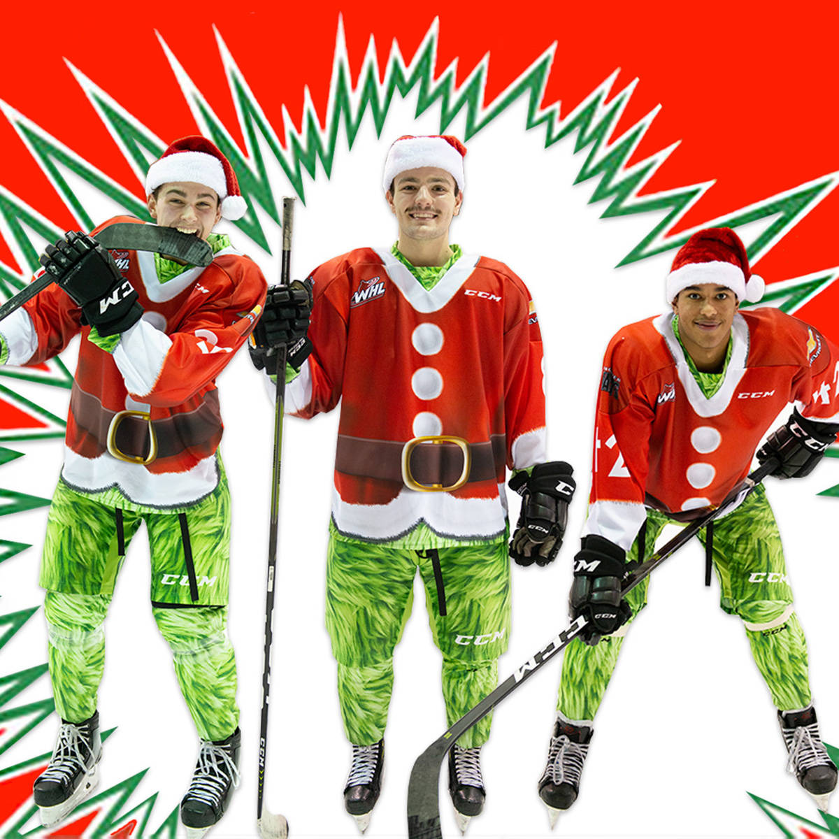 Vancouver Giants revealed they will be wearing special Grinch-themed uniforms for this year's teddy bear toss. (Vancouver Giants/Special to Langley Advance Times)