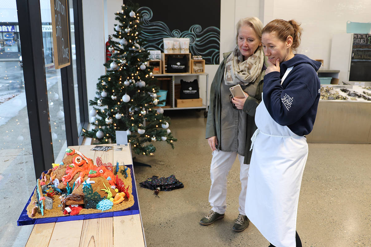 Brenda Quanstrom-Louth (left) with the DLBA, and Heather Jenkins, owner of 1 Fish 2 Fish, admire the detailed work done by staff for the store's gingerbread display. (Joti Grewal/Langley Advance Times)