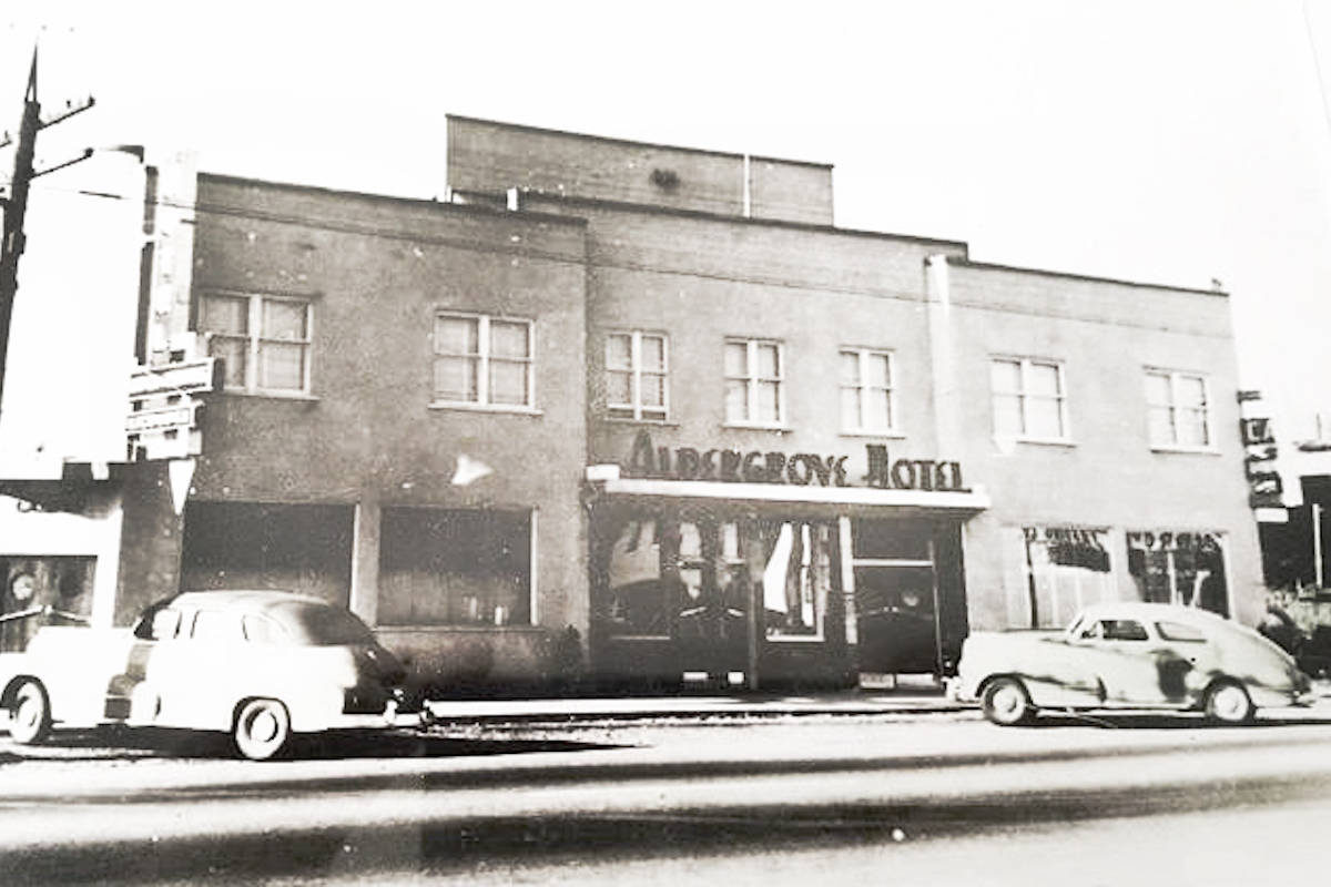 The Alder Inn was once known as the Aldergrove Hotel when it opened in 1948. The building has been shut down since a Sept. 20 fire. (Black Press files)