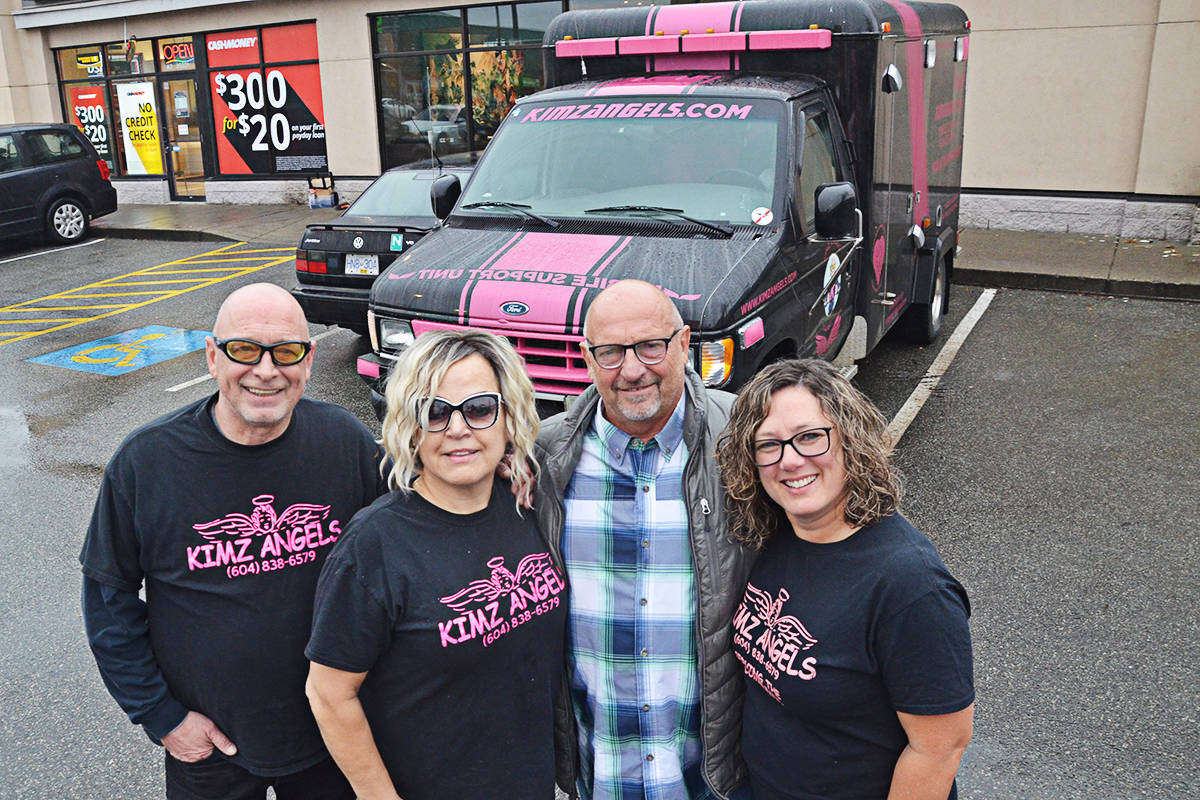 Members of Kimz Angels will be looking forward to filling up their ambulance. From left are Vince Ford, Kim SNow, Steve Stew, and Perri Anne Nicholson. (Matthew Claxton/Langley Advance Times)