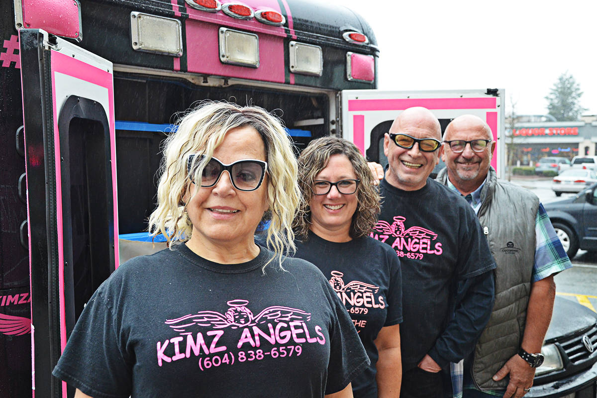 Members of Kimz Angels will be looking forward to filling up their ambulance. From left are Kim Snow, Perri Anne Nicholson, Vince Ford, and Steve Stew. (Matthew Claxton/Langley Advance Times)