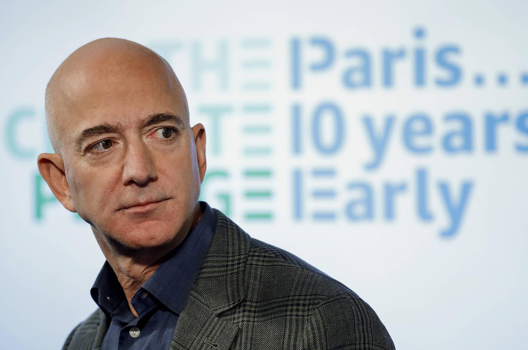 Amazon CEO Jeff Bezos speaks during his news conference at the National Press Club in Washington, Thursday, Sept. 19, 2019. (AP Photo/Pablo Martinez Monsivais)