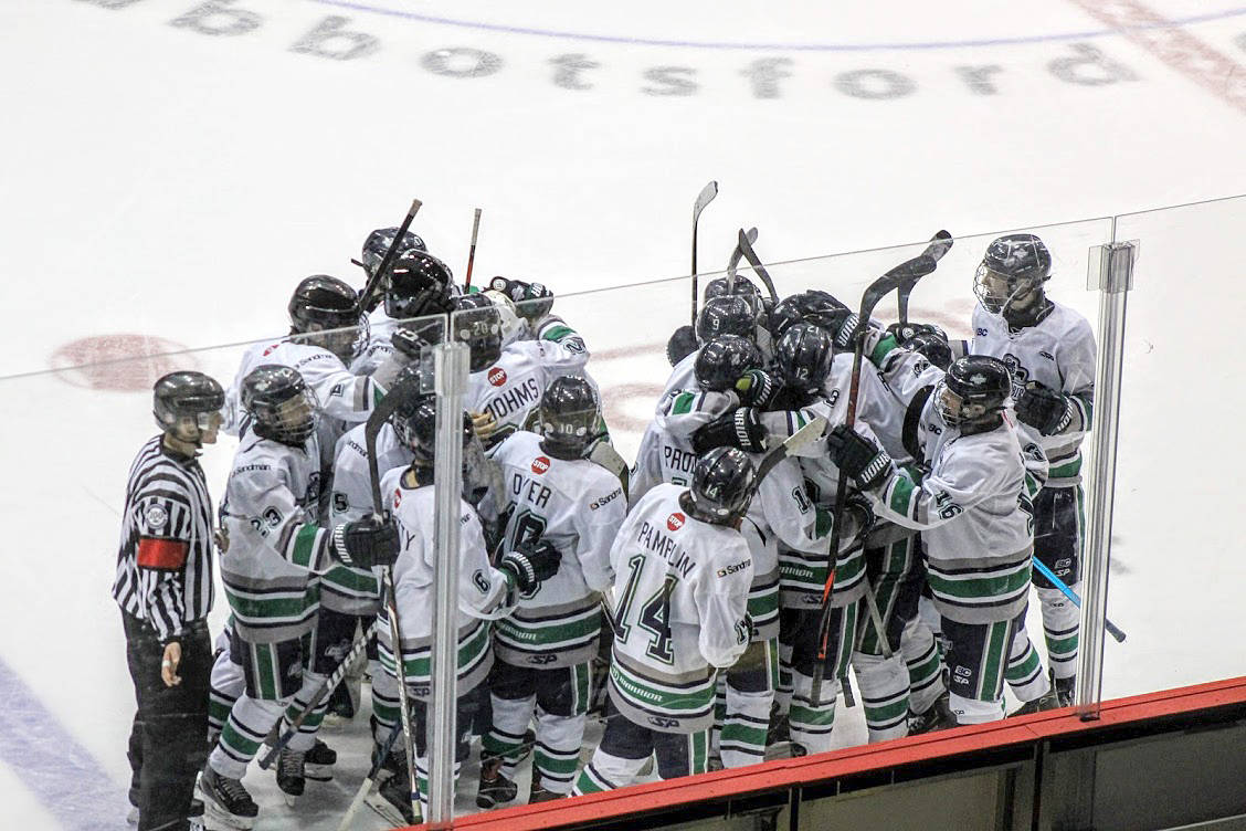 Major Bantam Thunderbirds celebrate a win against the Prince George Cougars. The team, which has a substantial contingent of Langley players, swept the Nov. 30 - Dec. 1 series. (Ilona Schmidt photo)