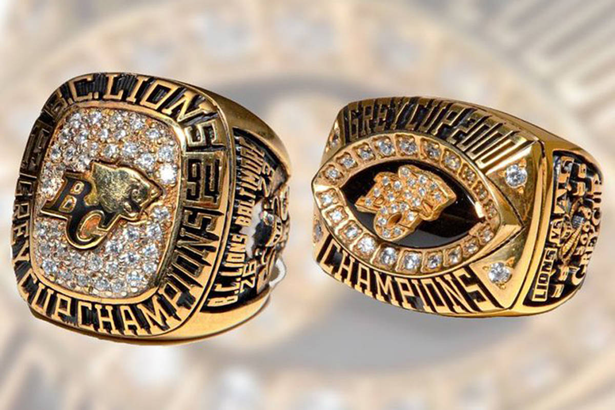 B.C. Lions posted this picture of two Grey Cup championship rings that may have been accidentally donated to a Value village Store. They belong to former Lions linebacker Cory Mantyka, who is asking for help in finding them. (B.C. Lions)