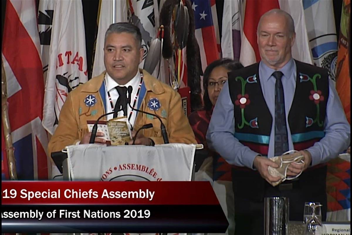 B.C. Premier John Horgan listens as Assembly of First Nations regional chief Terry Teegee calls on Ottawa to adopt the UN Declaration on the Rights of Indigenous People, Ottawa, Dec. 3, 2019. (AFN)