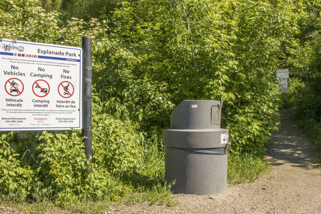 The entrance to Esplanade Park in downtown Penticton. The City of Penticton has started a large cleanup initiative which has resulted in the eviction of campers, and collection of three large dumpster bins, four pickup trucks and two garbage trucks full of waste. (File Photo)