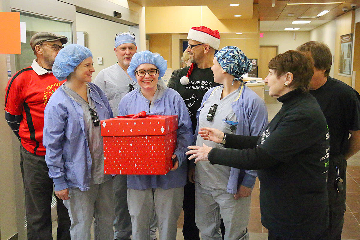 Transplant recipients annually deliver thanks to operating room staff as part of BC Transplant's Operation Popcorn initiative. (Morning Star file photo)