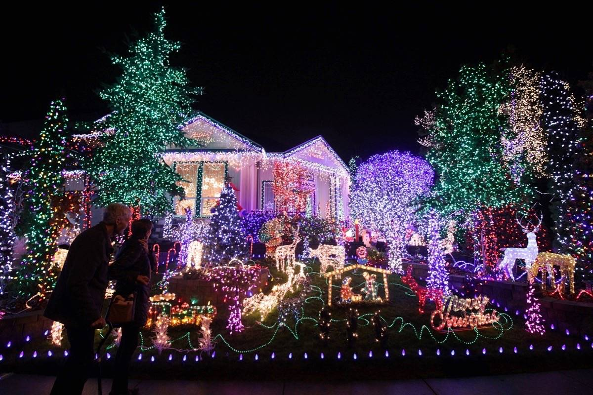 A home on the corner of at the corner of 63B Avenue and 165A Street boasts a display of thousands of lights that bring in people throughout the city to check it out. The family also collects donations for BC Children's Hospital. (Photo: Lauren Collins)