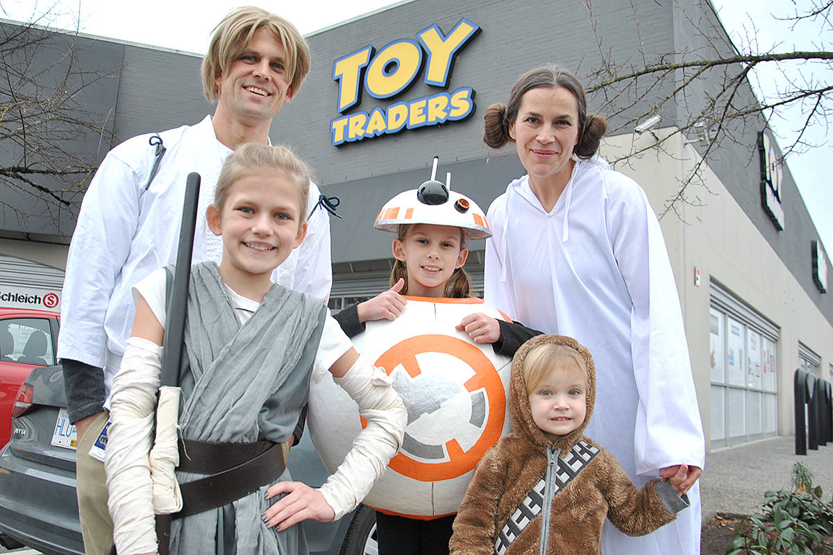 The Friesen family came in from Anvil Island to participate in Sunday's Santa Vader charity event. (Roxanne Hooper/Langley Advance Times)