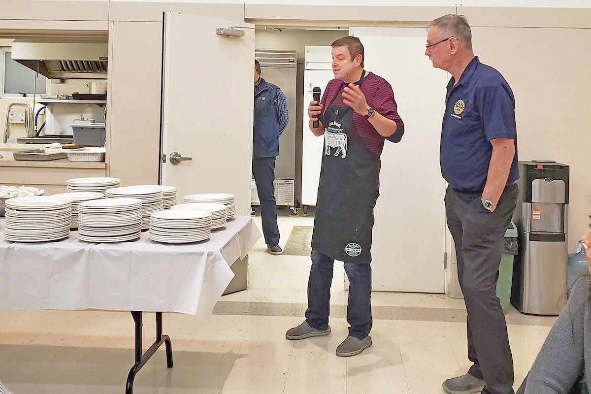 Aldergrove Rotary Club's third annual Pasta Party with dinner provided by Carlo Bonetti (left) of Bonetti Meats carried on three years of traditions. (Kim Snow/Special to the Aldergrove Star)