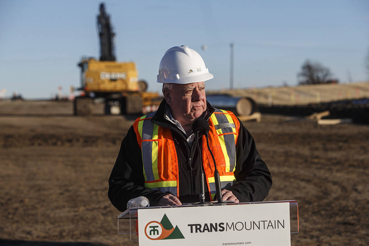 Ian Anderson, President and CEO of Trans Mountain, speaks during an event to mark the start of right-of-way construction for the Trans Mountain Expansion Project, in Acheson, Alta., Tuesday, Dec. 3, 2019. THE CANADIAN PRESS/Jason Franson