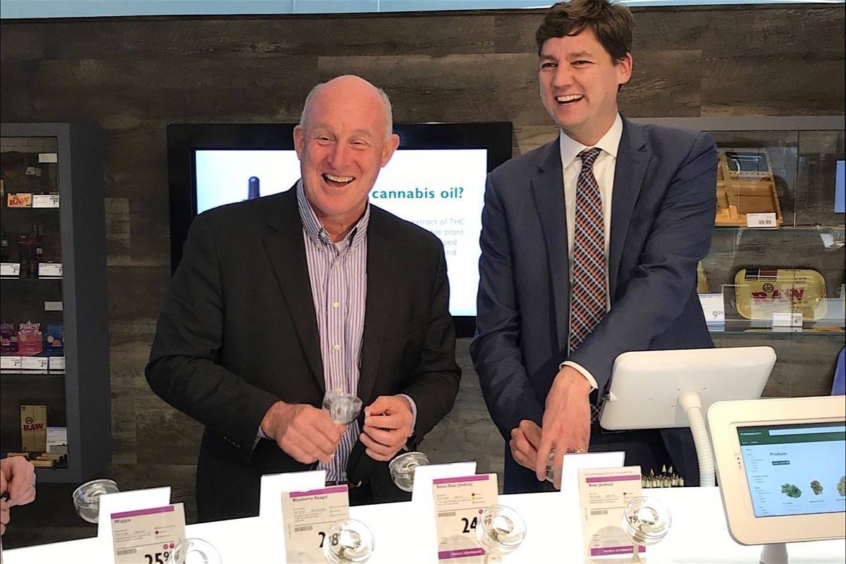 B.C. Public Safety Minister Mike Farnworth and Attorney General David Eby attend opening of the first government-run B.C. Cannabis Store, Kamloops, Oct. 19, 2018. (B.C. government)