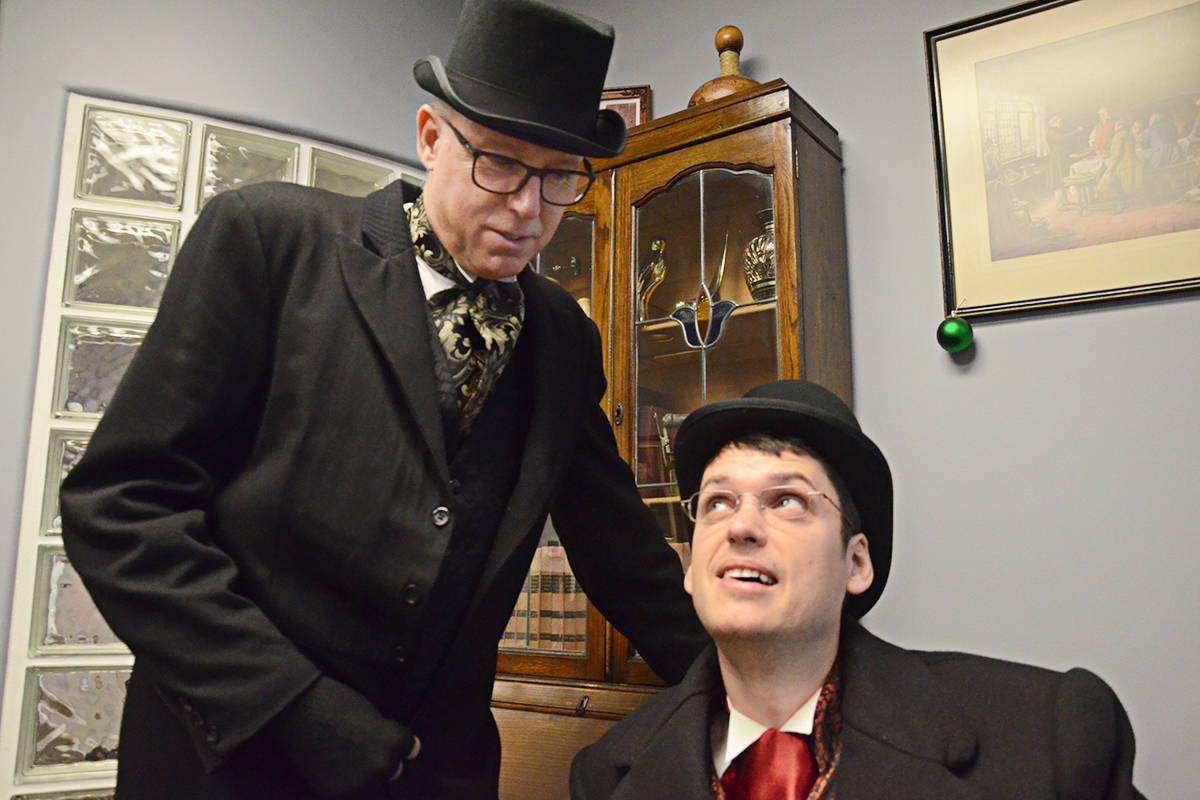 Marley instructs fearful employee Bob Cratchit. (Matthew Claxton/Langley Advance Times)
