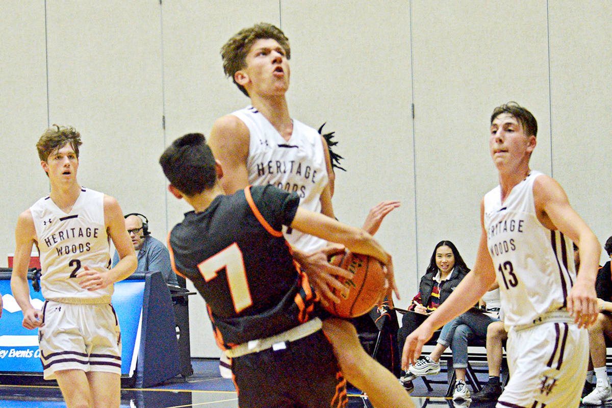 Heritage Woods beat New Westminter 58-54 on Wednesday at the Langley Events Centre. (Gary Ahuja/Langley Events Centre)