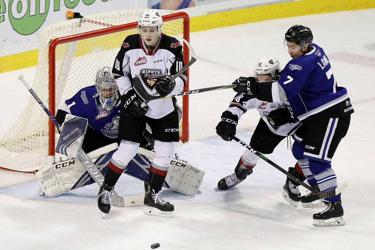 Wednesday night's game on Vancouver Island didn't end well for the Giants. The lost to the Victoria Royals by the score of 3-1. (Kevin Light/Special to the Langley Advance Times)