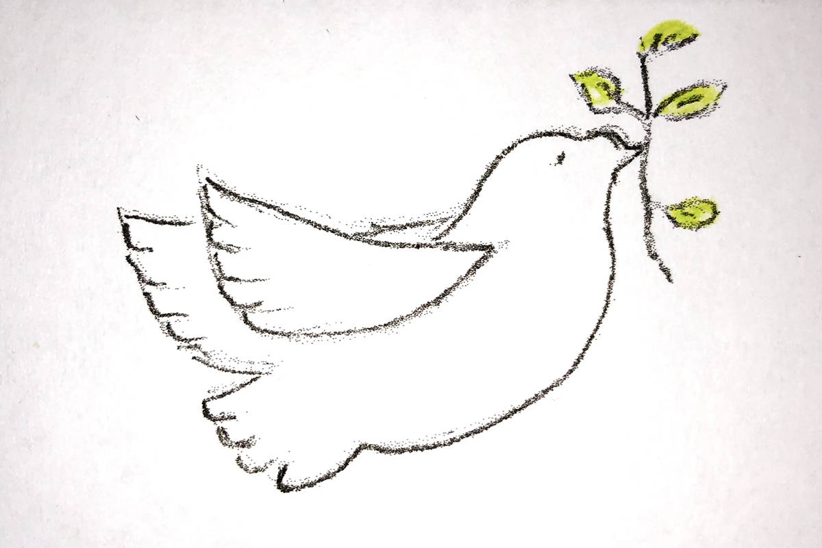 Letter writer Cal Pawson's plea for peace includes artwork. (Submitted)