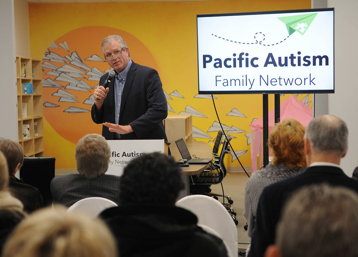 Steve Saccomano speaks during the grand opening of the new Pacific Autism Family Network location in Chilliwack on Tuesday, Dec. 3, 2019. (Jenna Hauck/ The Progress)