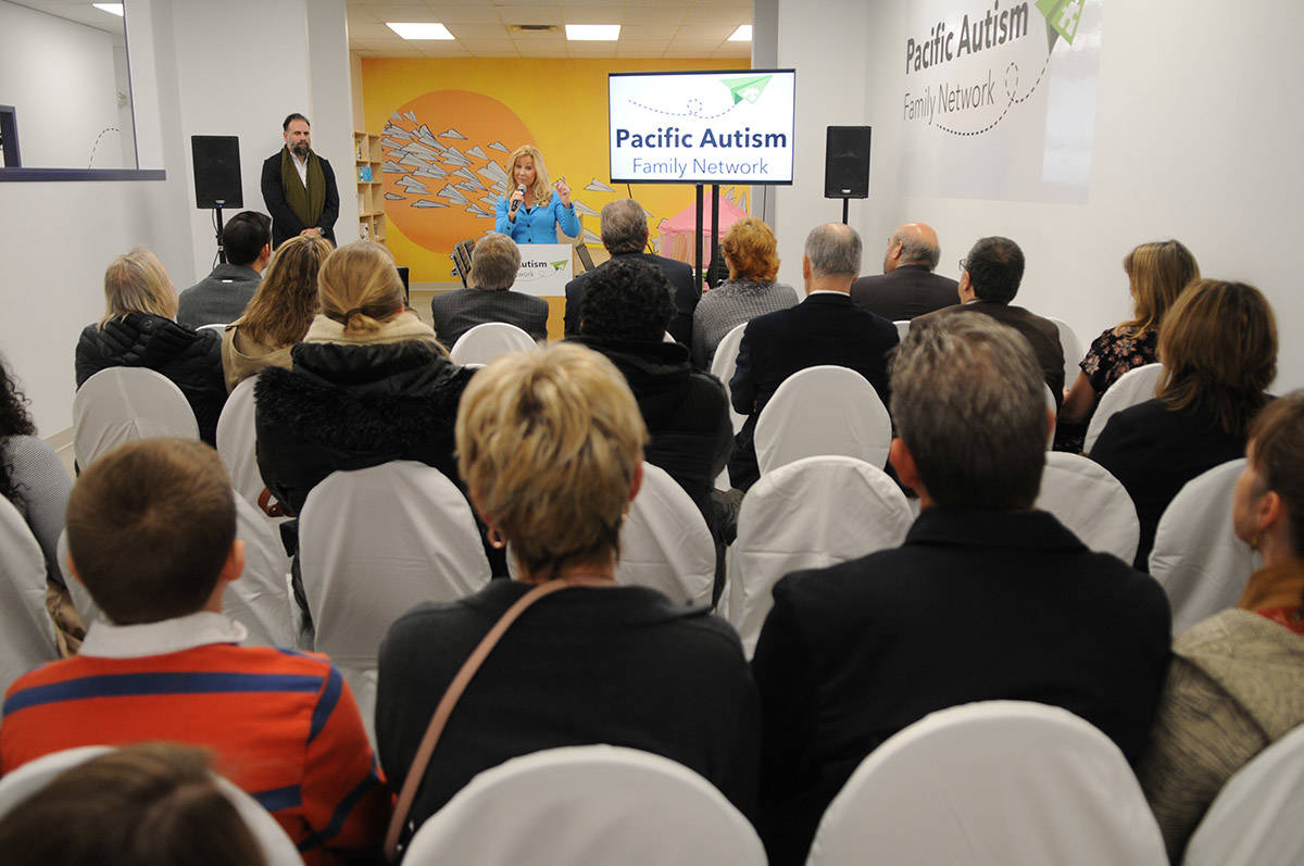 Wendy Lisogar-Cocchia, co-founder of Pacific Autism Family Network speaks during the grand opening of their new location in Chilliwack on Tuesday, Dec. 3, 2019. (Jenna Hauck/ The Progress)