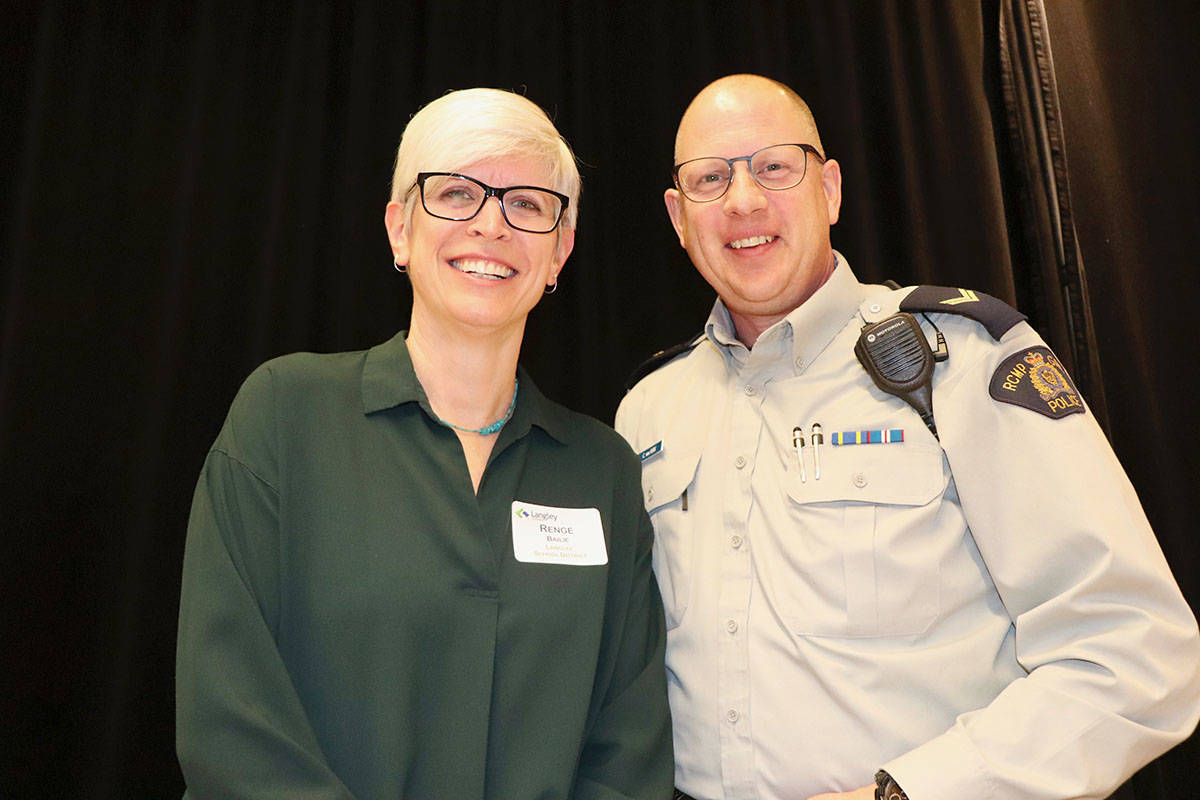 Renge Bailie, district principal of Student Support Services (left),and RCMP Cpl. Craig Van Herk were presenters and organizers of the community forum aimed at developing collaborative strategies to keep youth healthy and safe. (Joanne Abshire/Langley School District)