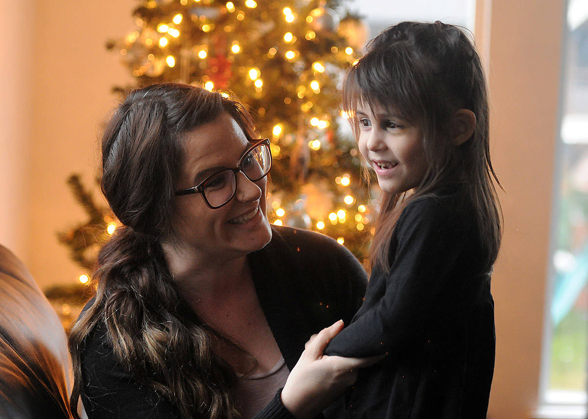 Ashley Durance is putting together 24 stockings for the babies in NICU at Royal Columbian Hospital. Her daughter, three-year-old Hazel, spent the first six months of her life there after being born 17 weeks early. (Jenna Hauck/ The Progress)