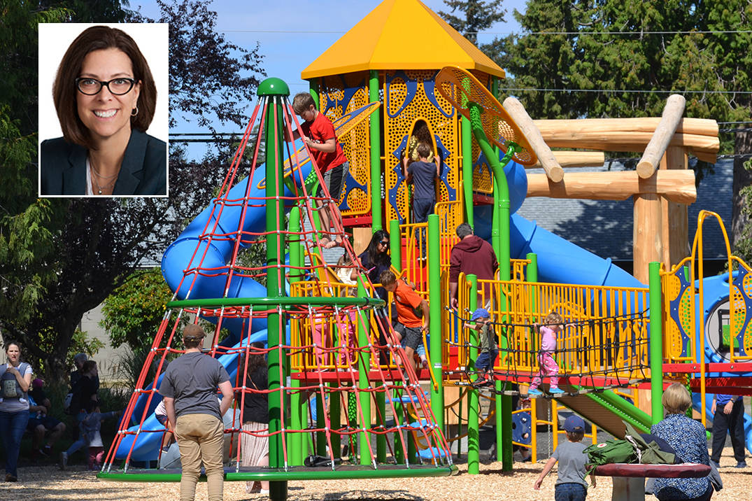 Surrey South MLA Stephanie Cadieux (inset) is criticizing the BC NDP government for a lack of commitment to building accessible playgrounds. White Rock has one such space – Generations Playground – but it was a combined effort between the city, local firefighters and Peace Arch Hospital, rather than the provincial government. (File photos)