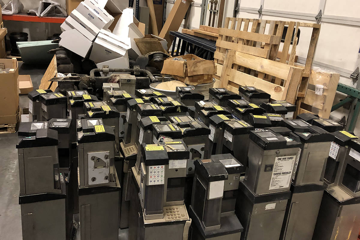 On a mechanic's suggestion, administrative staff scored 28 used fareboxes sitting in California storage and saved $300,000. (B.C. Transit Photo)