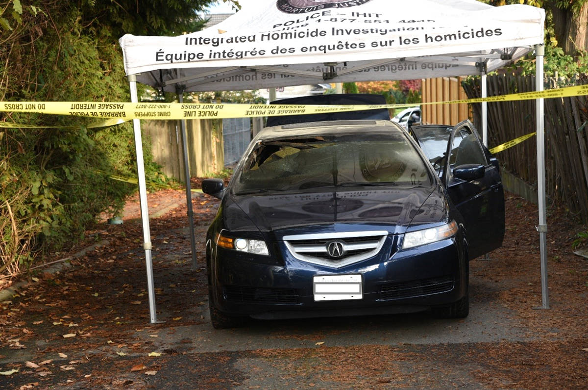 This Acura TL, which police have linked to the 2018 killing of Jagvir Malhi of Abbotsford, was found on fire in Surrey about an hour after the murder.