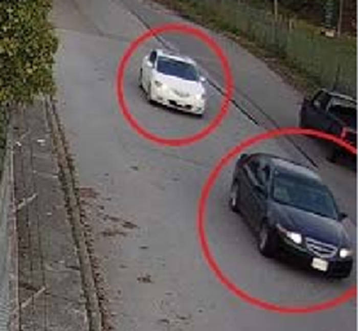Police released a photo still from video footage showing a blue Acura TL driving with a white Mazda 3. The Acura was found on fire in Surrey, and has been linked to the killing of Jagvir Malhi of Surrey.