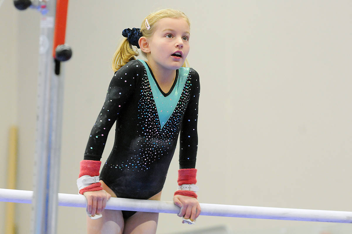 Hundreds of young gymnastics from around B.C. began their competitive season at the Langley Invitational on the Dec. 7 weekend, hosted by Langley Gymnastics Foundation (LGF) at the Langley Events Centre (LEC) fieldhouse. (Dan Ferguson/Langley Advance Times)