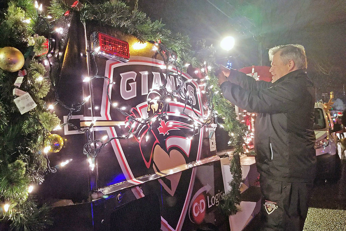 Lights adorned the Vancouver Giants ice machine, one of several brightly lit participants in the the annual Magic of Christmas parade in Langley City on Saturday night. (Dan Ferguson/Langley Advance Times)