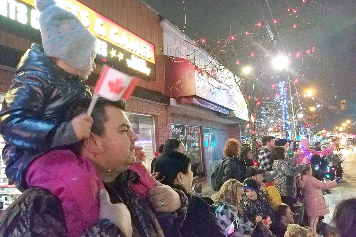 Thousands lined the streets to watch the annual Magic of Christmas parade in Langley City on Saturday night. (Dan Ferguson/Langley Advance Times)