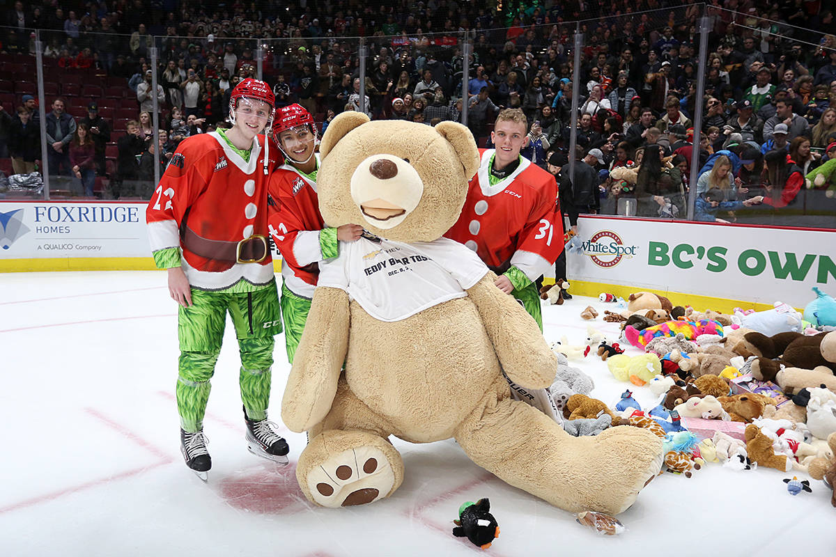 All stuffed toys thrown onto the ice during today's teddy bear toss game will be gathered and donated to the Lower Mainland Christmas Bureau. (Rik Fedyck/Vancouver Giants)