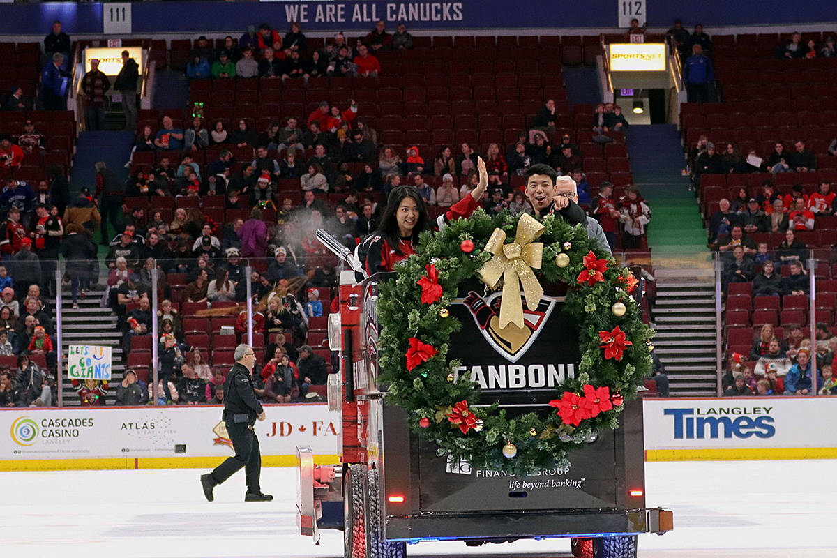 The teddy bear toss game for the Giants was held at Rogers Arena in Vancouver on Sunday. (Rob Wilton/www.rjmedia.tech)