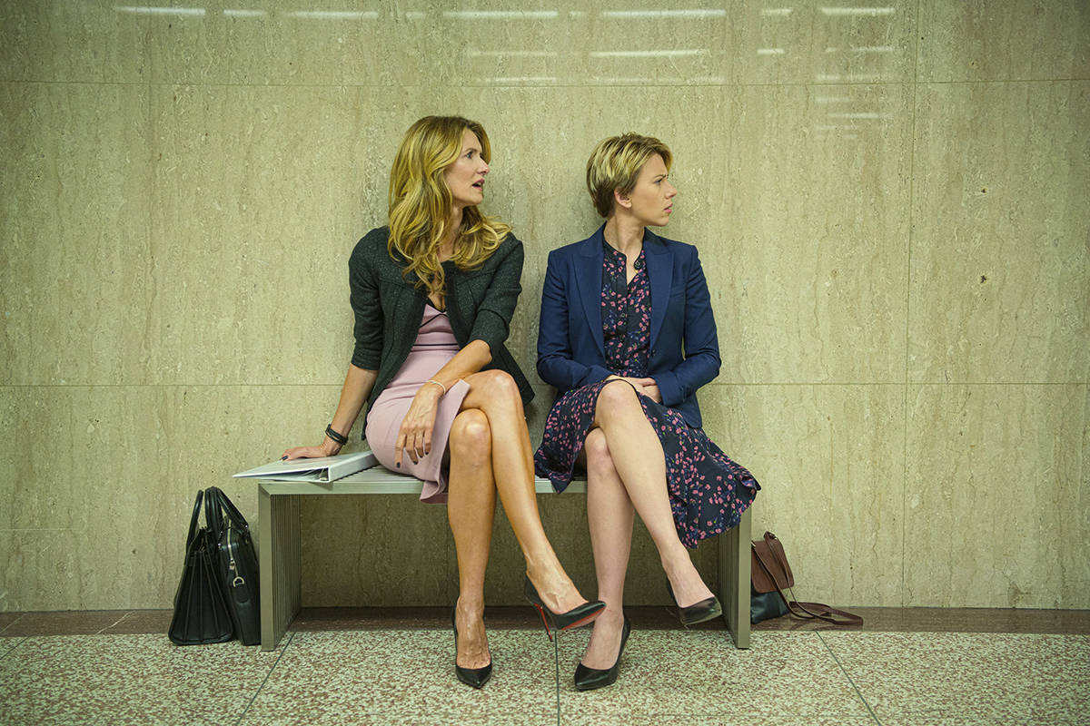 "This image released by Netflix shows Laura Dern, left, and Scarlett Johansson in ""Marriage Story."" On Monday, Dec. 9, 2019, Dern was nominated for a Golden Globe for best supporting actress in a motion picture for her role in the film. (Netflix via AP)"