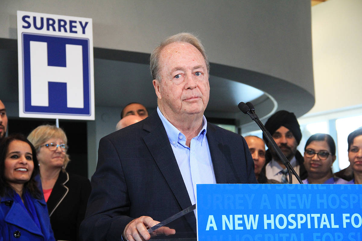 Mayor Doug McCallum thanks the government for bringing a new hospital to Surrey. (Photo: Malin Jordan)