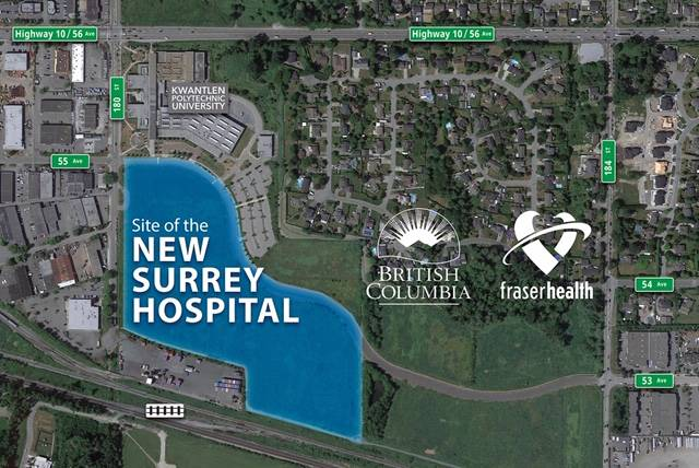 Map with the location for the new Surrey hospital in Cloverdale. (Handout)
