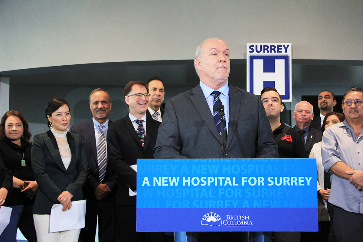 Premier John Horgan announces that Surrey's new hospital will be located in Cloverdale, next to KPU. (Photo: Malin Jordan)