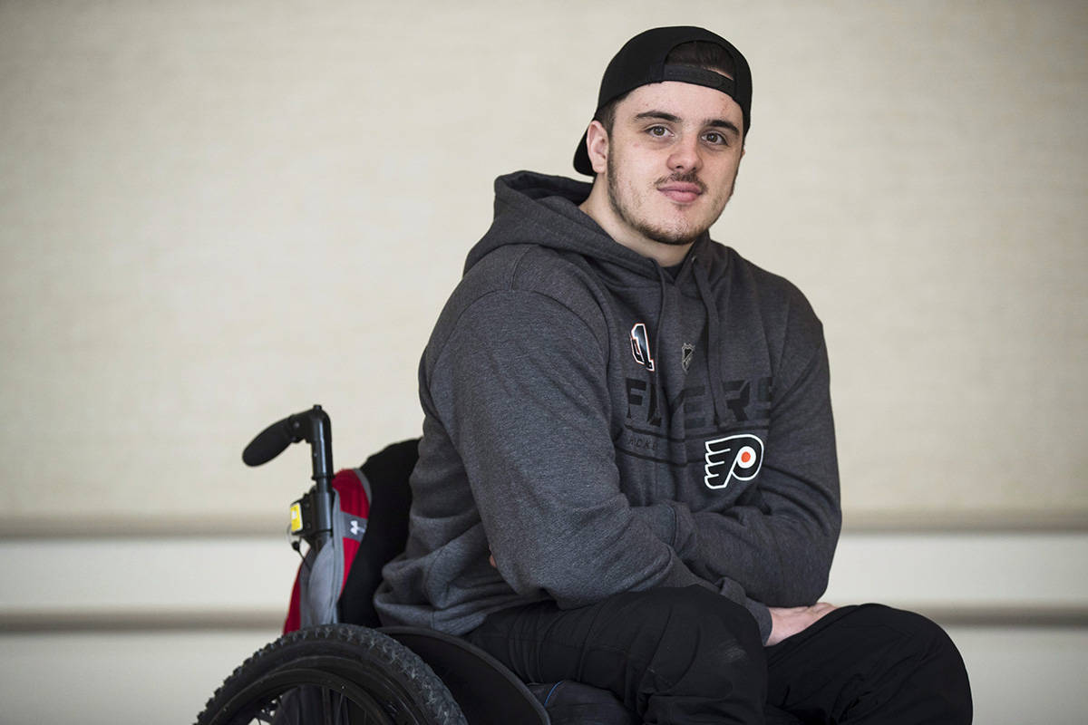 Ryan Straschnitzki poses for a photograph in Philadelphia, Wednesday, March 20, 2019. (THE CANADIAN PRESS/AP-Matt Rourke)