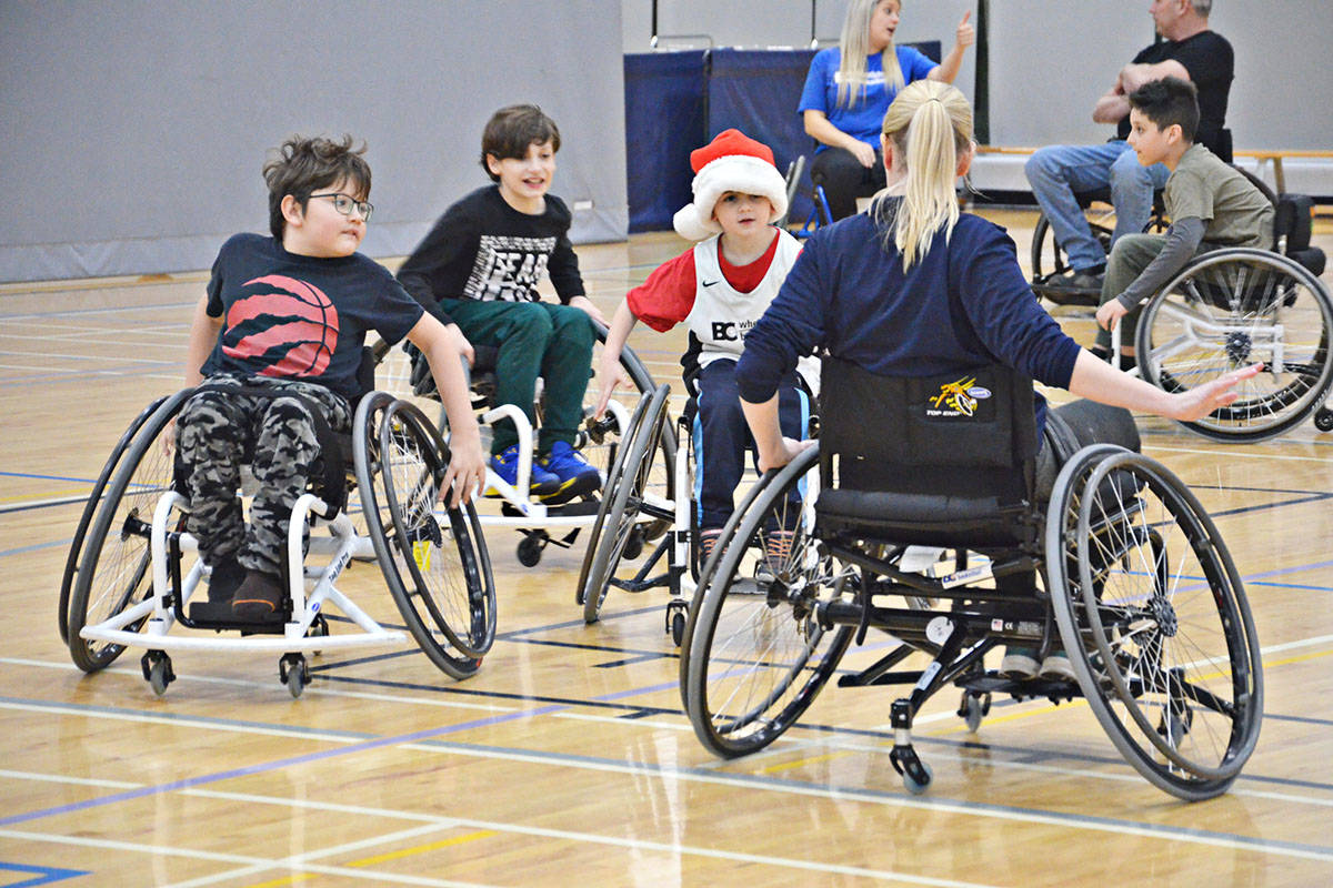 Let's Play BC held a games evening on Dec. 5 at the Timms Community Centre to encourage younger children to get involved in wheelchair sports. (Heather Colpitts/Langley Advance Times)