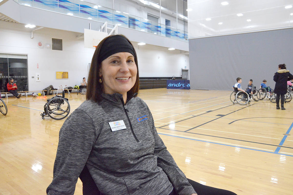 Marni Abbott Peter brought Let's Play BC equipment to Langley for a special evening of wheelchair games on Dec. 5 to encourage younger kids who are in wheelchairs to be more active. (Heather Colpitts/Langley Advance Times)