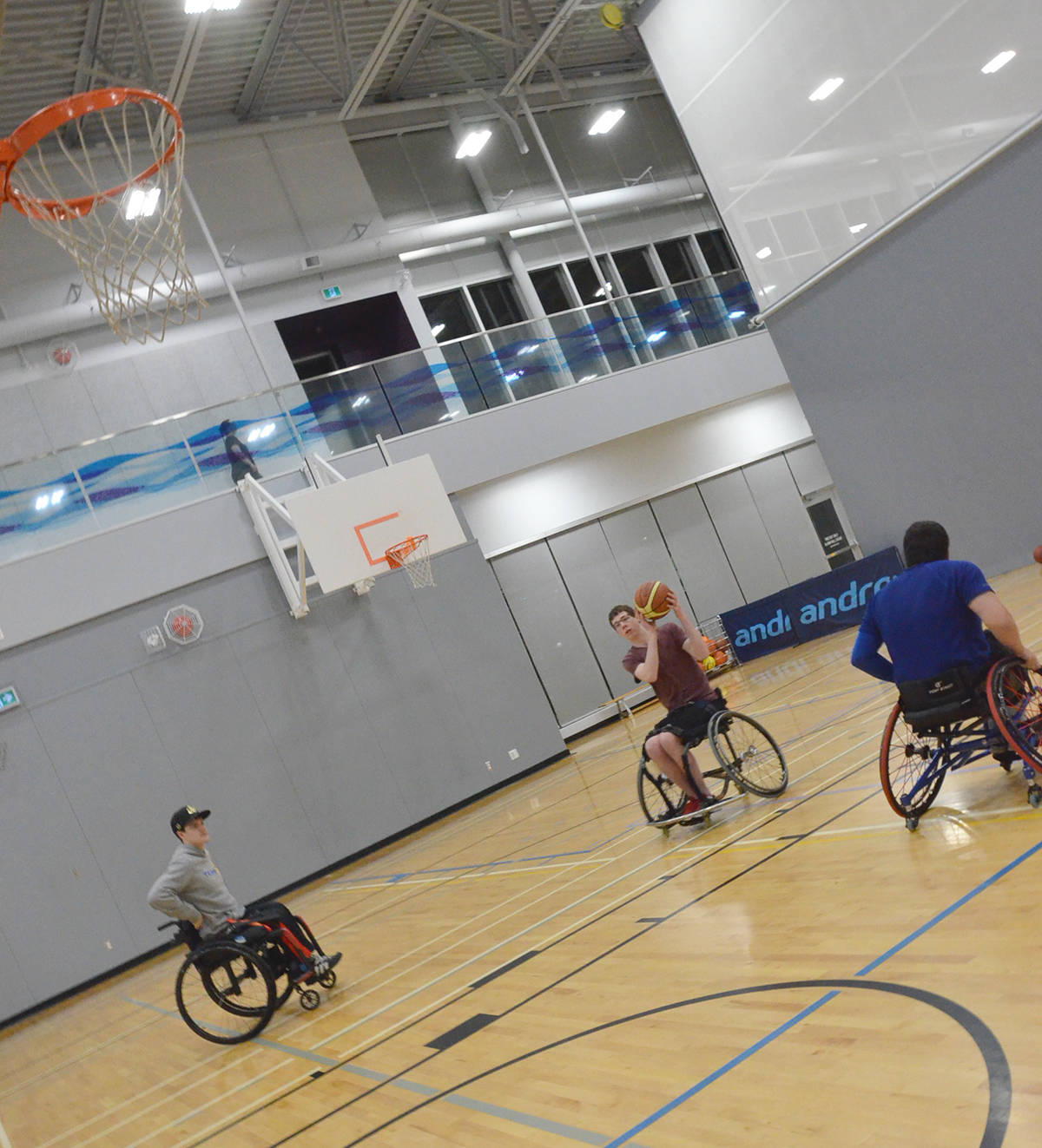 Matthew Norris, Joel Aukema and Ben Garrett were at the Timms Community Centre for their weekly basketball evening on Dec. 5. Langley is one of only a few Lower Mainland communities with wheelchair basketball. (Heather Colpitts/Langley Advance Times)