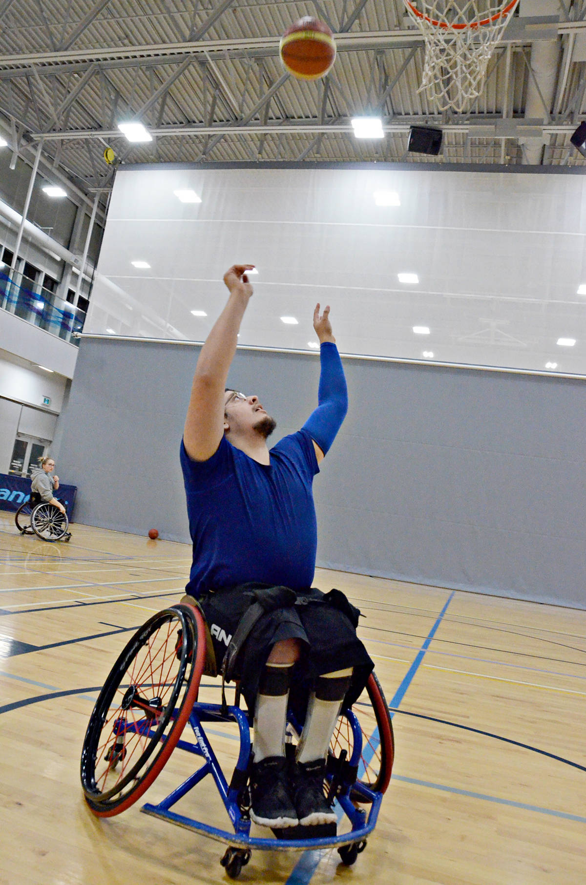 Ben Garrett was one of the local athletes who does wheelchair basketball at the Timms Community Centre. (Heather Colpitts/Langley Advance Times)