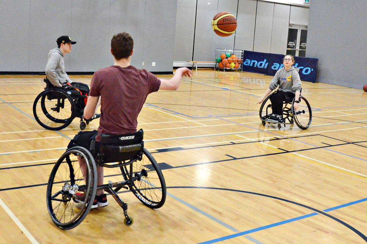 Matthew Norris, Joel Aukema (seen from behind) and Karen Marler are local wheelchair athletes who have competed at elite levels. (Heather Colpitts/Langley Advance Times)