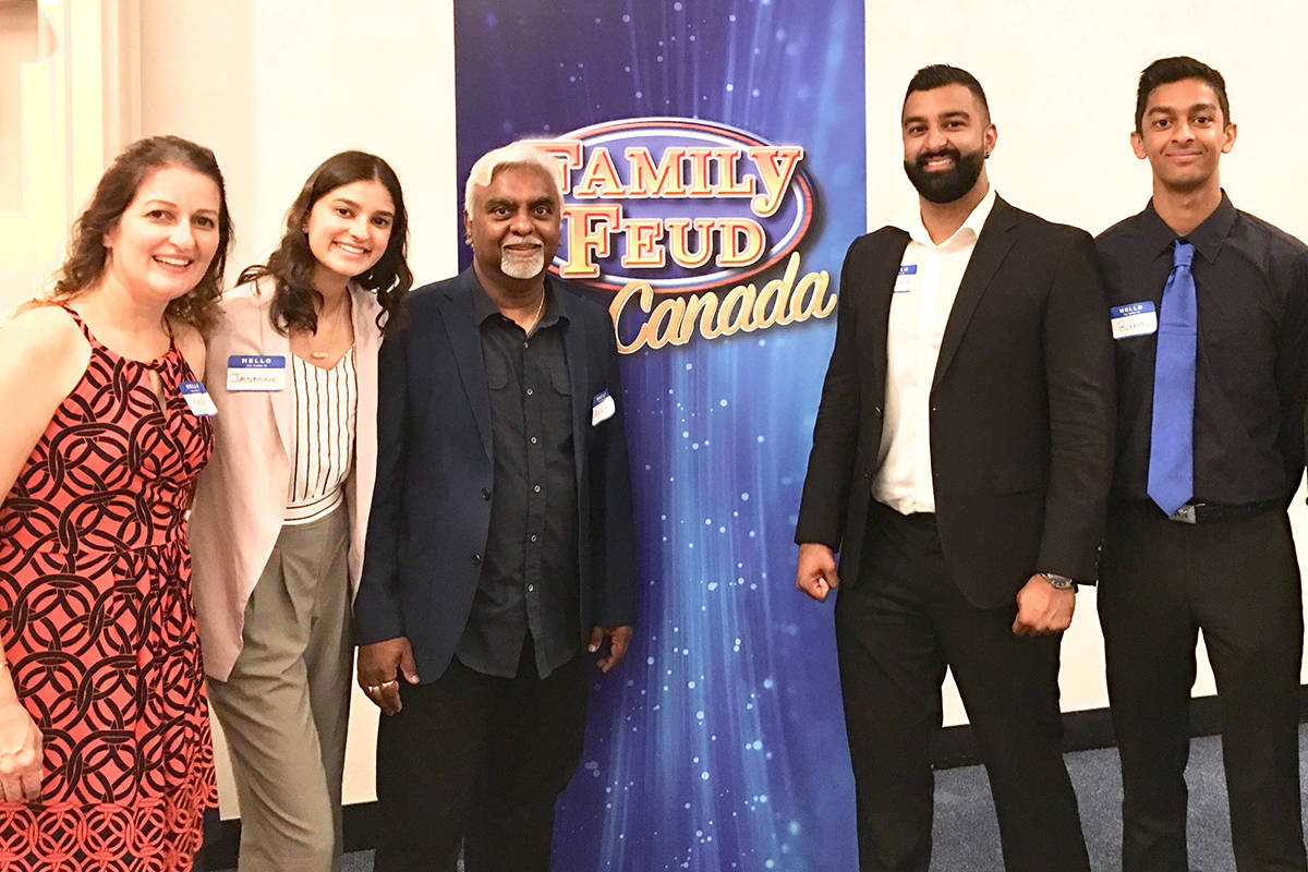 """Surrey's Ram family won an audition to compete in the new """"Family Feud Canada"""" television game show. (submitted photo)"""